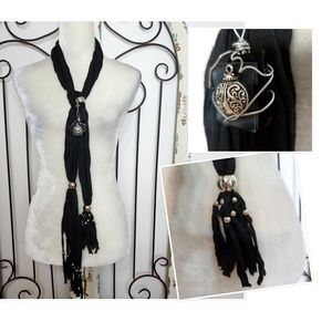 Black with silver embellishments scarf